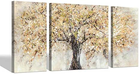 Canvas Abstract Trees Wall Art – Blossom Tree Painting on Canvas Decor for Living Rooms 24 x 24 x 1 Panel 24 x 12 x 2 Panels