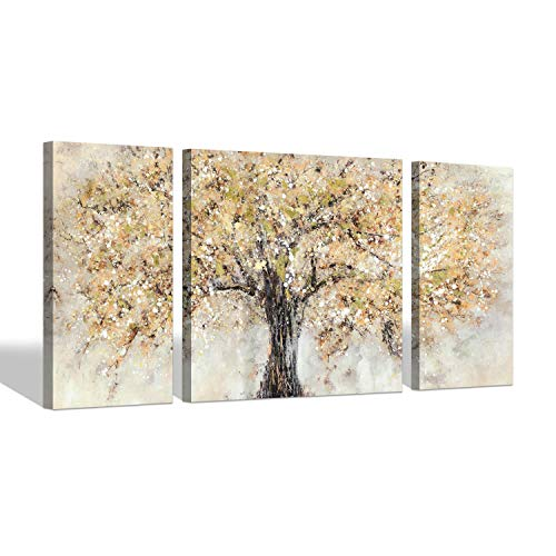 Abstract Tree Canvas Wall Art - Orange Tree Blossom Artwork Painting Living Room (32'' x 16'' x 2 Panels + 32'' x 32'' x 1 Panel)