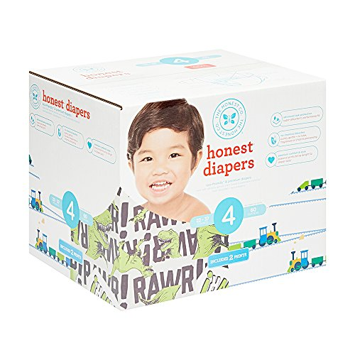 Honest Baby Diapers, Club Box, T-Rex & Trains, Size 4, 60 Count