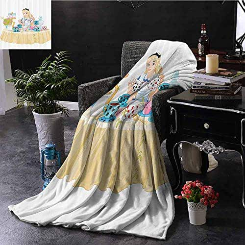 SEMZUXCVO Alice in Wonderland Decorations Collection Warm Blanket Alice Pours Cup of Tea Eats Cupcakes Flowers Pottery Wonderland Fantasy Warm All Season Blanket for Multi W54 x L84