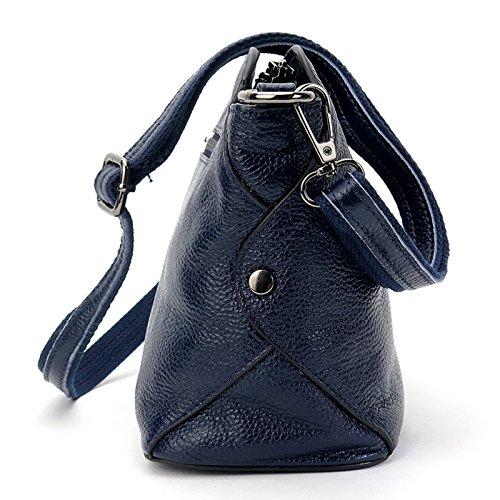 Leather Tophandle Women's blue SEALINF Crossbody Genuine Shoulder deep Purse Handbag wnRdYTq7E