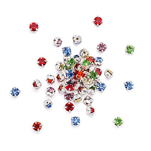 - Pandahall 50pcs Square Brass Grade A Rhinestone Beads Chaton Montee Sew On Beads Silver Metal Color 3.8~4x3.8~4mm Mixed Color Jewelry Makings
