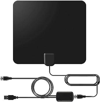 BangHaa Antena HDTV Digital, Amplificado Interior Antena de TV Digital, a 130 Millas de Amplificador de señal de Refuerzo Ajustable for 4K HD 1080P VHF UHF TDT Canales Locales: Amazon.es: Electrónica