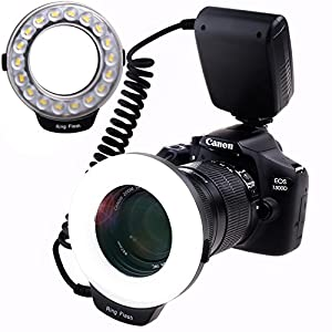 SAMTIAN 48 Macro LED Ring Flash Light with LCD Display, Adapter Rings and Flash Diffusers for Canon 750D,760D,T6i,550D,600D,650D,700D;Nikon D500,D5500,D750,D7100,D7200,D800,D800E,D810;Sony A6300 A6000