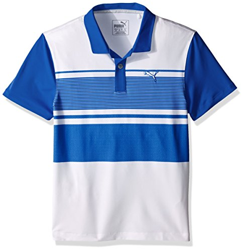 Puma Golf Boys Junior Pattern Block Polo, Surf The Web, - Web X-small