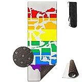 American LGBT Heart Deluxe,Yoga Mat Aerobic Exercise Pilates Anti-Slip Gymnastics Mats