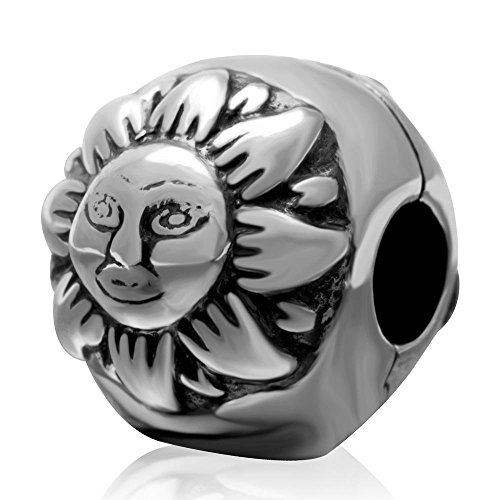 Sun Moon Charm 925 Sterling Silver Clip Lock Stopper Spacer Charm Bead for Bracelet (Lock Silver 925)