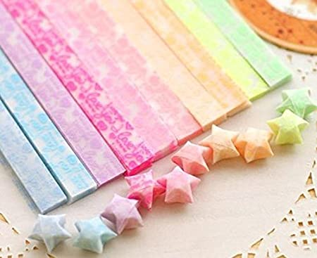 3 Styles, Each 10 Colors DzdzCrafts Star Cupid Heart 630 Sheets Luminous Glow-in-The-Dark Origami Stars Paper for Arts DIY Crafts Kids