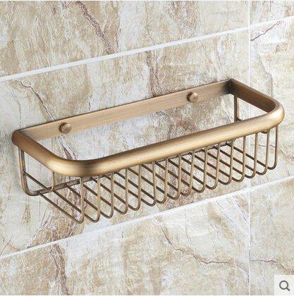 cfxdxayd Brass Wall Mounted Bronze Finish Storage Basket Holder Bathroom Shelf Bathroom Holder Soap Holder Rack Bathroom Accessories ()
