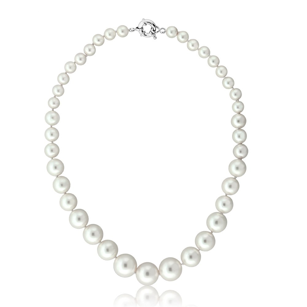 Gem Stone King Round 8MM to 16MM White Shell Pearl Necklace 18 Inches