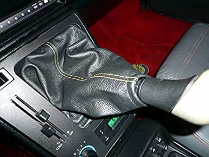 Black Leather-Red Thread RedlineGoods Shift Boot Compatible with Alfa Romeo Spider 1986-93