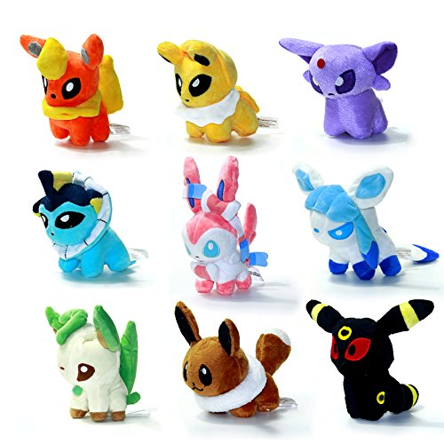 Cutepower Stuffed Plush Toys Set, Pack of 9 Umbreon Sylveon Eevee Espeon Jolteon Vaporeon Flareon Glaceon Leafeon
