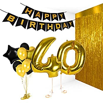 40th Birthday Metallic Decorations Ideas Gifts For Women And Men Photo Booth Props Happy Bday Garlands