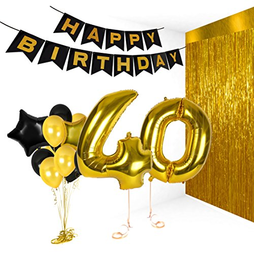 40th Birthday Metallic Decorations Ideas Gifts for Women and Men Photo Booth Props Happy Bday Garlands Gold Backdrop Centerpieces Party Supplies
