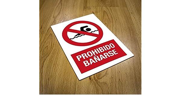 Cartel prohibido Bañarse | Señalización | Rótulo informativo ...
