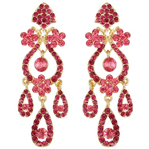 - EVER FAITH Art Deco Gold-Tone Flower Vase Chandelier Pierced Dangle Earrings Austrian Crystal Pink