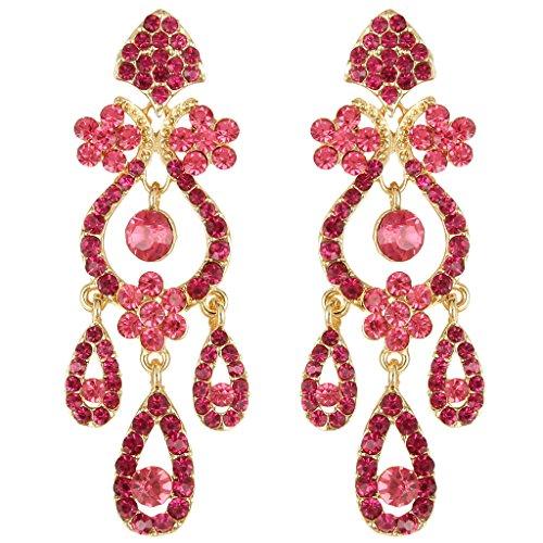 EVER FAITH Art Deco Gold-Tone Flower Vase Chandelier Pierced Dangle Earrings Austrian Crystal Pink ()