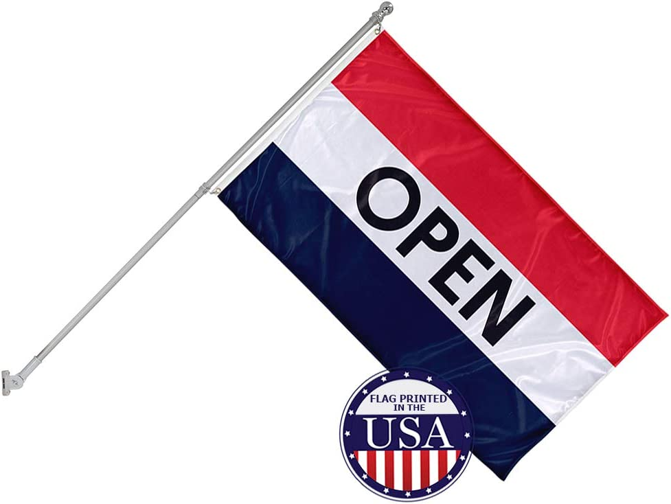Vispronet 3ft x 5ft Open Flag with 6ft Wall Mounted Flagpole - Knitted Polyester - Single-Sided Print with 100% Visibility on Both Sides - Printed in The USA