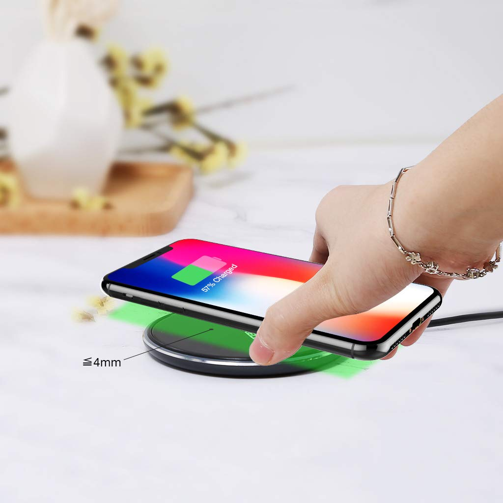 FLOUREON Wireless Charger Qi-Certified Ultra-Slim Wireless Charger Black
