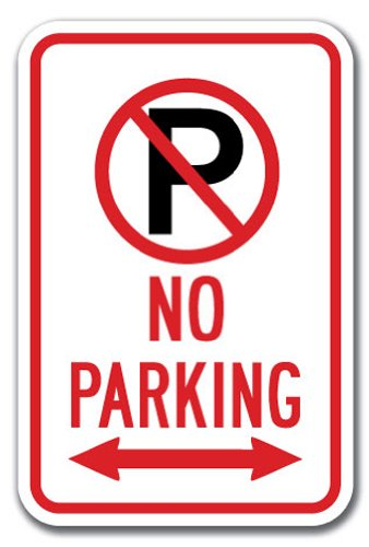 Arrow Sign Double (No Parking with ''P'' No Parking symbol & double arrow Sign 12