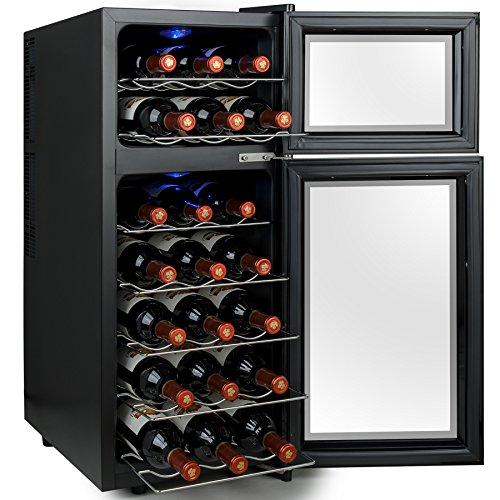 akdy 21 bottles dual zone electric wine cooler cellar w led lights - Under Counter Wine Fridge
