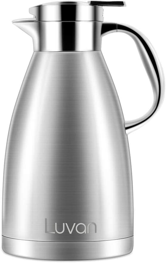 Luvan 304 18/10 61 oz Food-grade Stainless Steel Thermal Carafe/Double Walled Vacuum Insulated Coffee Pot with Press Button Top,24+ Hrs Heat&Cold Retention,BPA Free,for Coffee,Tea,Beverage etc