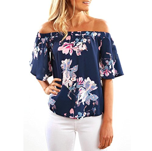 TOPUNDER Fashion Women Off Shoulder Floral Printed Blouse Casual Tops T Shirt D (S, Navy)