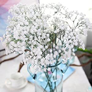 Rucan Fake Gypsophila, Artificial Silk Fake Flowers Baby's Breath Floral Wedding Bouquet Party Decor (A, 65cm) 22