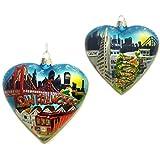 "Kurt Adler 4"" San Francisco Glass Heart Cityscape Ornament"