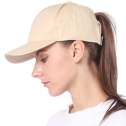 SURPRISE PIE Womens Ponytail Beige caps Plain Baseball Hats Buns Dad hat  Visor Women Snapback b2e999198a3