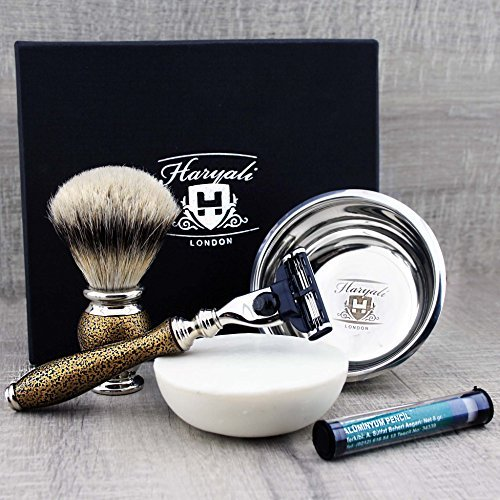 Luxury Men's Shaving & Grooming Set >Top Grade Silver Tip Badger Brush, Gillette Mach3, Engraved Bowl & Soap| Free Alum by Haryali London