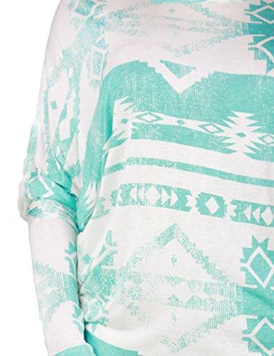 Fandsway Womens Southwestern Textile Print Long Sleeve Batwing Top (MEDIUM, MINT)