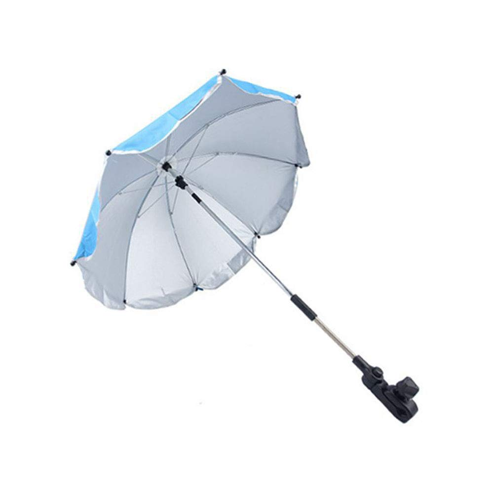Umbrella 31.5'' Universal Flexible Foldable Baby Wheelchair Parasol for Any Pram Stroller UV Sun Protection from Sun Rain,Blue