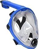 Deep Blue Gear Vista Vue Full Face Snorkeling Mask, Blue/Clear Silicone, Small/Medium