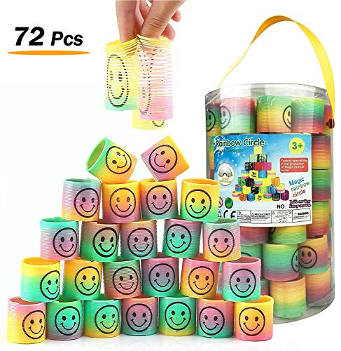 Rainbow Coil - Liberty Imports Bucket 72 Pcs Mini Emoji Rainbow Springs | Bulk Set Assorted Rainbow Magic Coil Spring Birthdays, Party Favors, Gifts