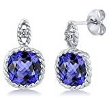 5.43 Ct Cushion Blue Tanzanite White Diamond 10K White Gold Earrings