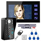 Touch Key 7'' Lcd RFID Password Video Door Phone Intercom System Kit+ Electric Strike Lock+ Wireless Remote Control unlock