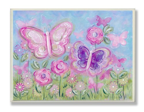 Green Butterfly Nursery Decorations - The Kids Room by Stupell Pastel Butterflies in a Garden Rectangle Wall Plaque