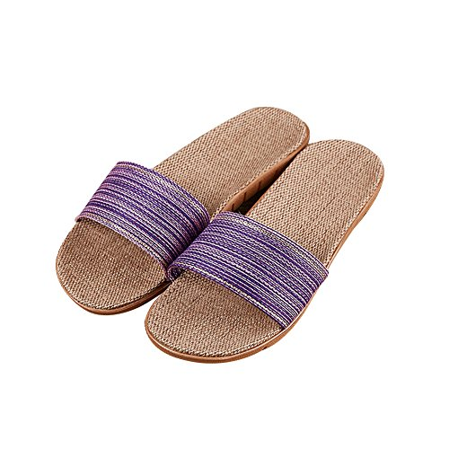 TELLW women men Summer Slippers linen indoors home Couples anti-slip rattan grass casual one word slippers Purple IhqiH