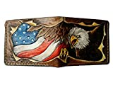 Men's 3D Genuine Leather Wallet, Hand-Carved, Hand-Painted, Leather Carving, Custom wallet, Personalized wallet, Bald Eagle, Flag of the United States