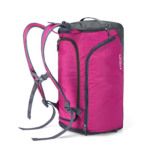 G4Free Lightweight Sports Gym Bag Travel Duffle Backpack Weekend Bag with Shoes Compartment (Pink)