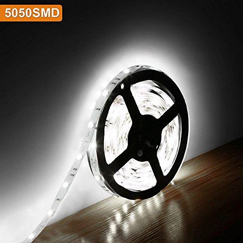Lighting EVER Lampux 12V Flexible LED Strip Lights, Daylight White, 150 Units 5050 LEDs, Non-waterproof, Light Strips, Pack of 5M