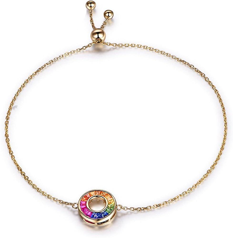 14k solid gold multicolored sapphire gemstone beads bracelet natural genuine