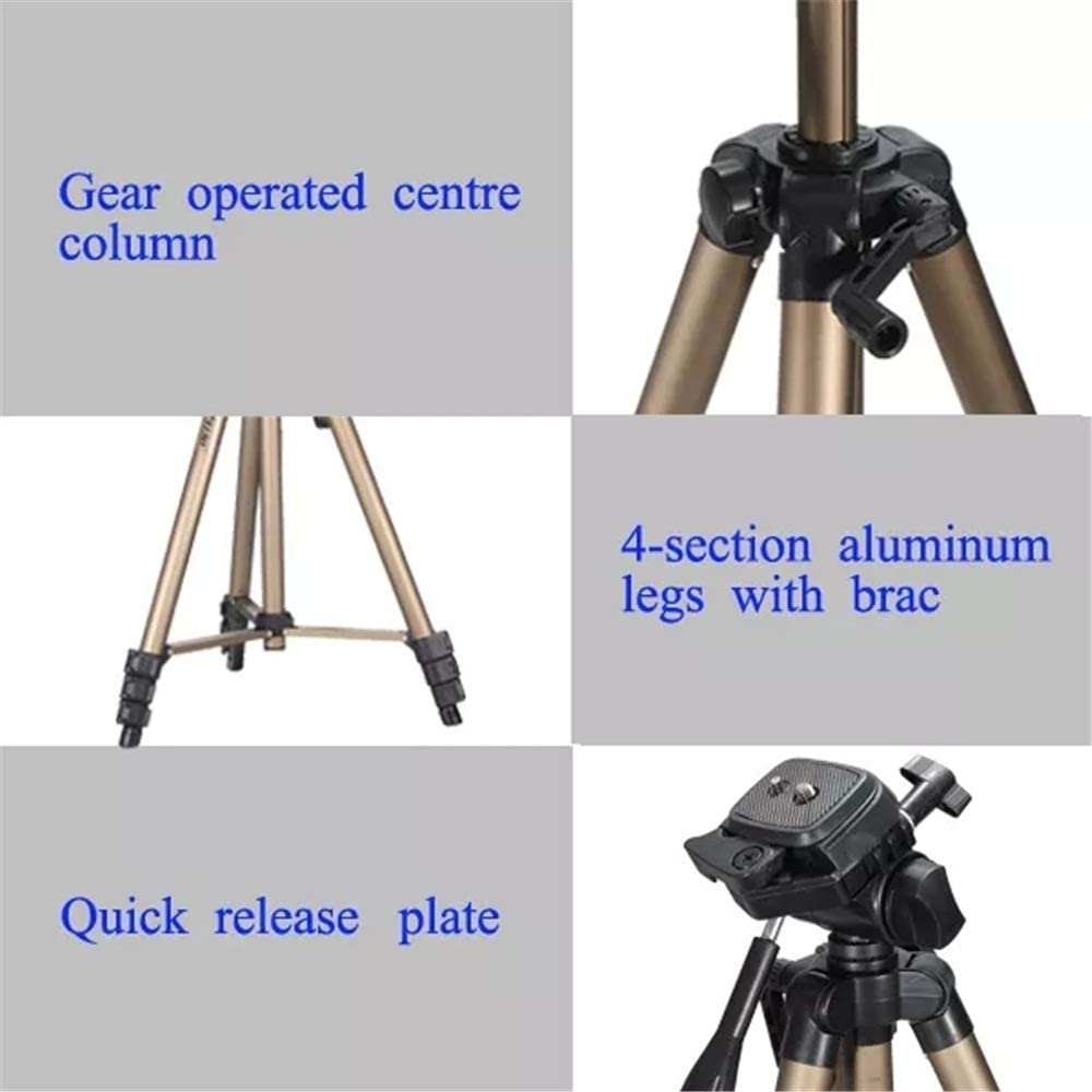 330A 4.5 Feet Aluminum Tripod with Carrying Bag for DSLR Camera for DSLR Camera Color : Photo Color, Size : One Size FeliciaJuan-ac Camera Tripod Lightweight Tripod with Bag Video Camcorder