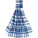 Home-X Snap Top Towels. Set of 3. Bright Blue and White Plaid Kitchen Towels