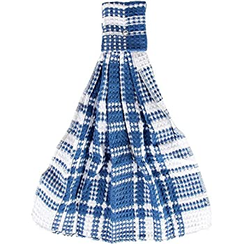Home-X - Blue Snap Top Towels (Set of 3), Kitchen Towels and Dishcloths That Easily Snap onto Drawers and Handles, Perfect for Any Kitchen