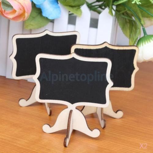 Self Stick Framed Bulletin Board (2X10pcs Wood Chalkboards Black Board with Stand for Wedding Message Board Signs)