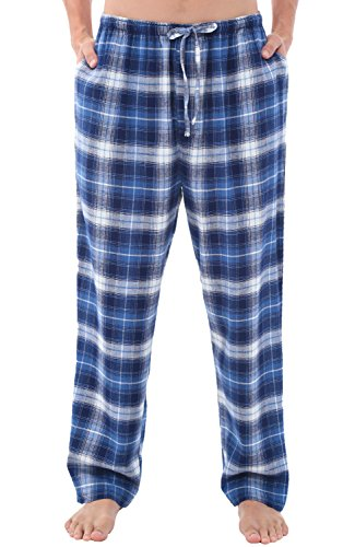 Alexander Del Rossa Mens Flannel Pajama Pants, Long Cotton Pj Bottoms, Medium Wide Blue White Plaid (A0705Q40MD)