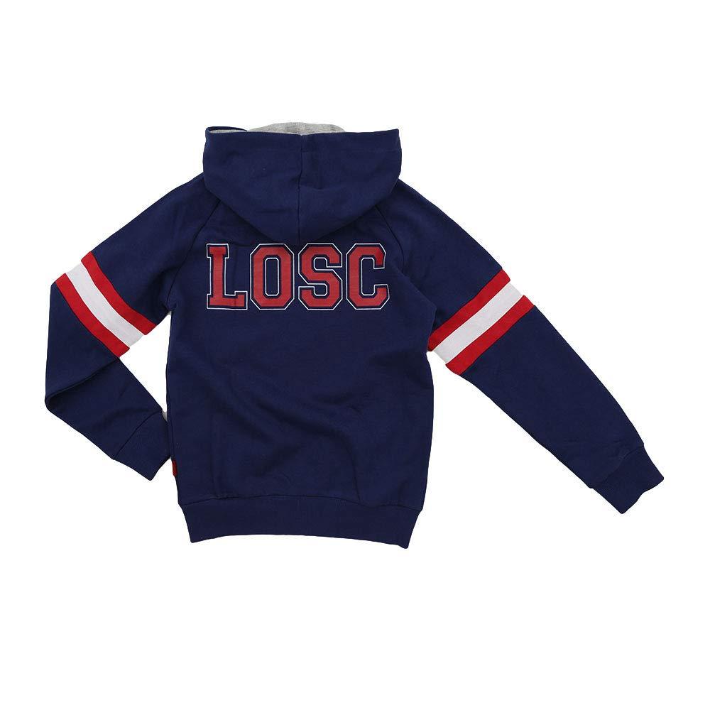 Licence Officielle LOSC Sweat-Shirt Zip Capuche Fan Lille Enfant Bleu.