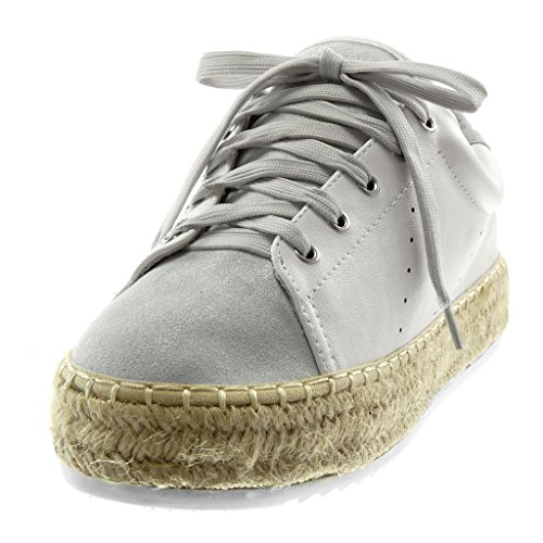 Angkorly Women's Fashion Shoes Trainers Espadrilles - Sporty Chic - Tennis - Platform - Perforated - Cord - Braided Flat Heel 3 cm Light Grey n6nPW3R6X